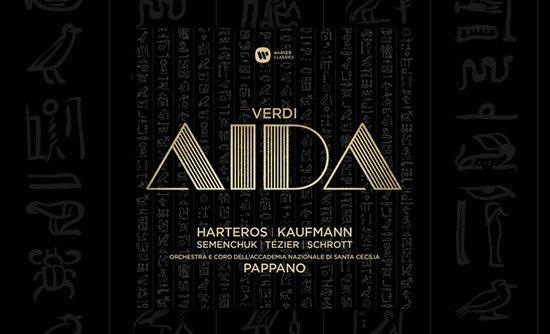 Aida (1871 ) // Giuseppe Verdi //Anja Harteros (soprano), Jonas Kaufmann (tenor), Ekaterina Semenchuk (mezzosoprano), Ludovic Tézier (barítono), Erwin Schrott (bajo-barítono), Marco Spotti (bajo), Paolo Fanale (tenor), Eleonora Buratto (soprano). Coro y Orquesta de la Accademia Nazionale di Santa Cecilia, Roma. Director: Antonio Pappano.