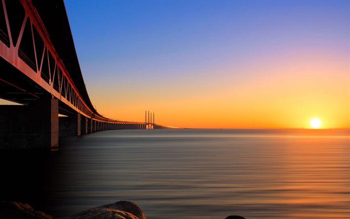 تحميل خلفيات جسر أوريسند, مالمو, مضيق اوريسوند, غروب الشمس, السويد
