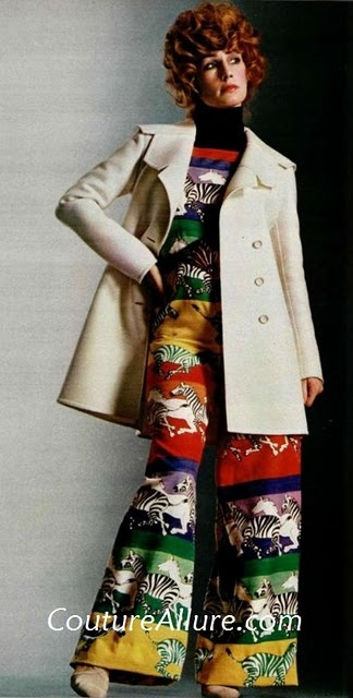 abbigliamento anni'70: Vintage Fashion, 1970S Style, 1970S Stuff, 1970S Rainbows, 1970 S Fashion, 1970S Fashion I, Prints Jumpsuits, Theme Jumpsuitso, 1970 S Style