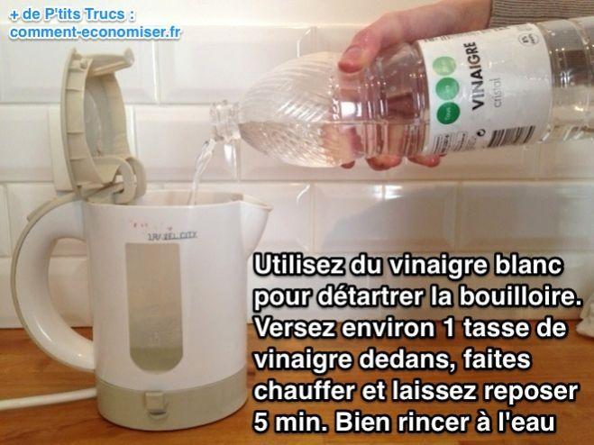 Utilisez du vinaigre blanc  pour détartrer la bouilloire.