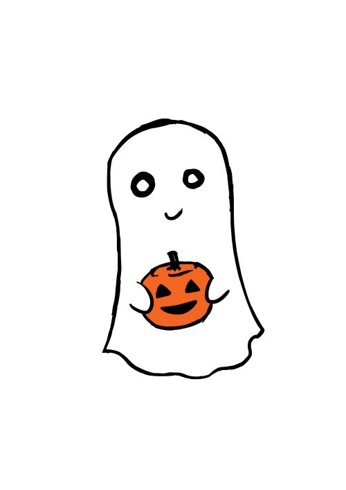sweet and simple ghost and pumpkin illustration - artist unknown