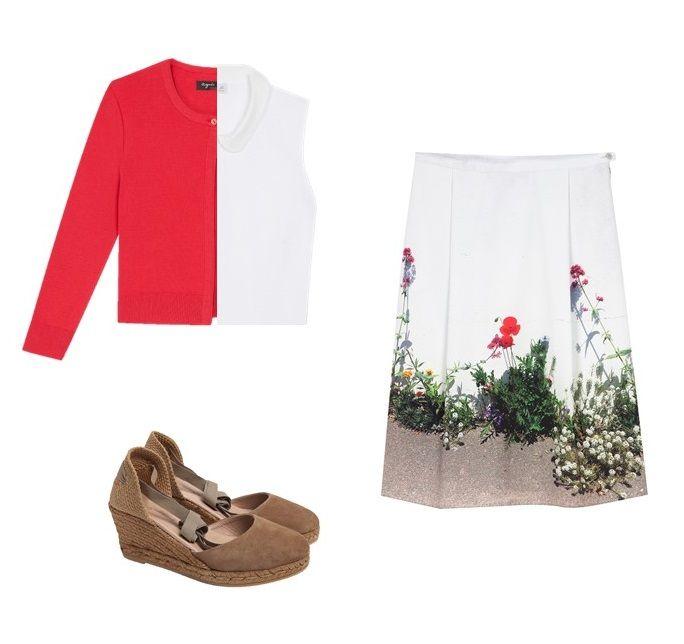 la jupe hoedic est conçue en tissu souple avec base imprimée d'une fantaisie florale. Elle pourra être portée avec un polo banc, un cardigan rose et une paire d'espadrille compensée.