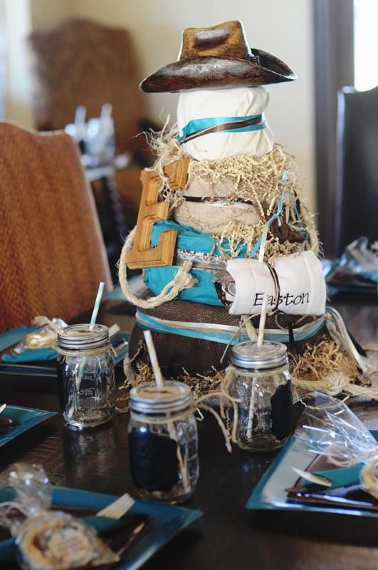 Ashley D. - you are looking at barn theme party ideas right...Western Turquoise Baby Shower