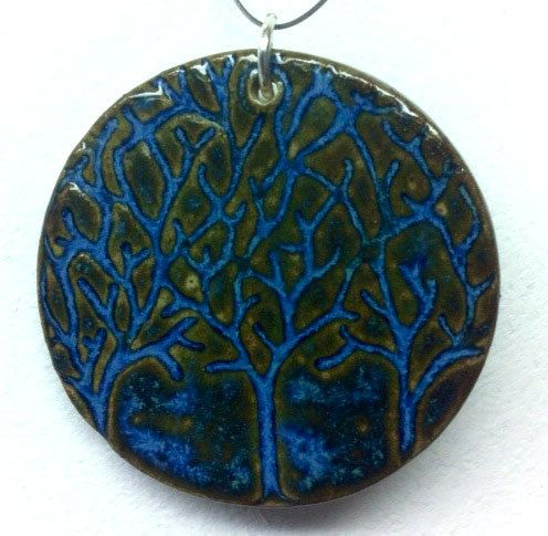 Three Trees Ceramic  Pendant with Necklace by CuriousBirdPottery