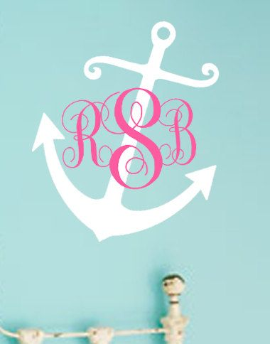 Nautical Anchor Monogram Personalized Wall Art Decal **YOUR INT,L ,POPULAR WEDDING<SHOWERS<****