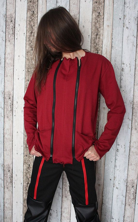 Rock Metal Men's Ripped Tunic/Sweatshirt with zips – L/XL – bio eco