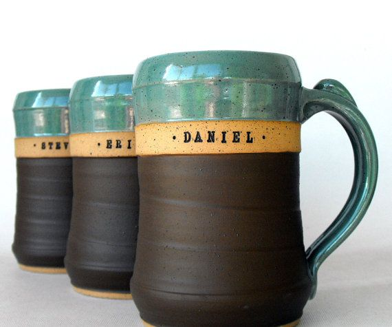 Nice contrast - colors, textures... Form, texture and handle  Huge Custom Beer Mug, Stein, Personalized Pottery by Mud Pie Studio (perfect Groomsmen Gift)