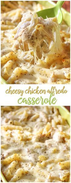 DELICIOUS Cheesy Chicken Alfredo Casserole - one of our favorite dinner recipes!