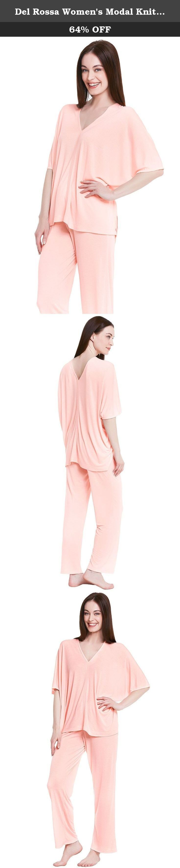 Del Rossa Women's Modal Knit Pajamas, Long Loose V-Neck Pj Set, Medium Pink (A0412PNKMD). These soft, long knit pajamas from Alexander Del Rossa are comfortable, durable, and classy. Made from a premium 65% modal, 35% polyester knit blend, this womens pj set is breathable and easy on the skin. Designed with you in mind, this set is perfect for lounging around the house - even when guests are present. Rich in features, we trust that these pajamas for women will not disappoint. Pajama…