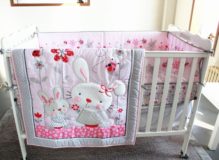 93.00$  Buy here - http://ali2vk.worldwells.pw/go.php?t=32602830159 - Promotion! 7pcs Embroidery 100% cotton baby cot bedding sets baby crib set ,include (bumpers+duvet+bed cover+bed skirt)