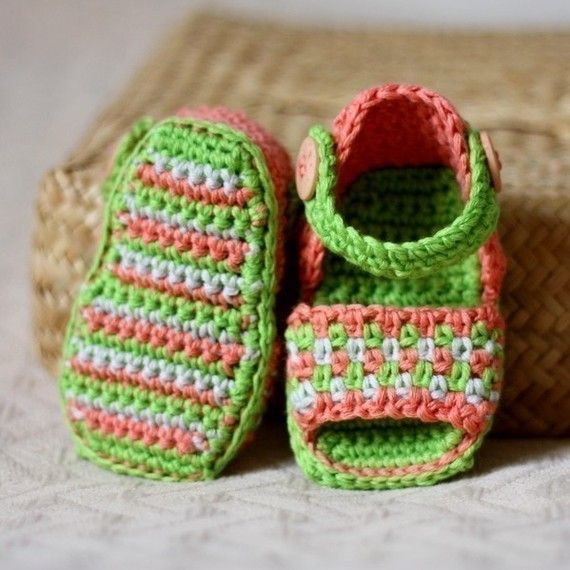 Crochet PATTERN pdf file  Multicoloured Sandals by monpetitviolon, $4.99