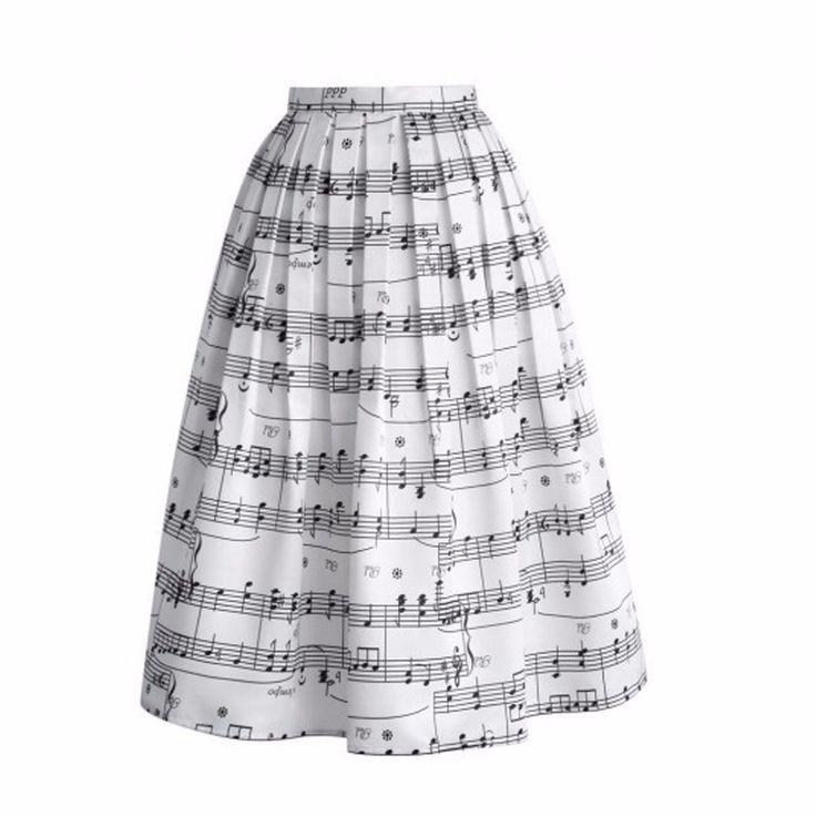 Ucuz yaz tarzı 2015 yeni moda kadın midi etek sıcak siyah piyano müzik notası baskı tül kızın etek bayan yüksek bel uzun etek, Satın Kalite Etekler doğrudan Çin Tedarikçilerden: