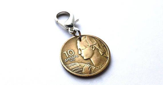 Vintage Yugoslavian coin zipper charm 1955  Agriculture