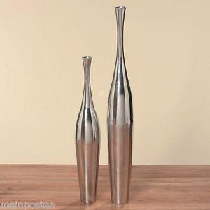 XXL Vase Bodenvase silber H 76 cm Aluminium Alu Deko Dekoration modern X115