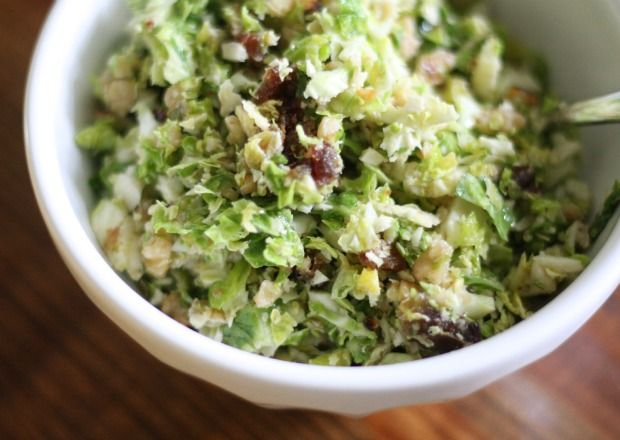 Shredded Brussels Sprouts Salad with Toasted Walnuts and Dates