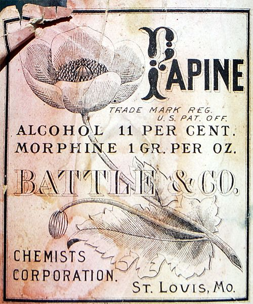 Morphine and alcohol. It doesn't cure anything but you no longer care. Papine Label & Vintage Bottle – Battle & Company, St Louis, MO
