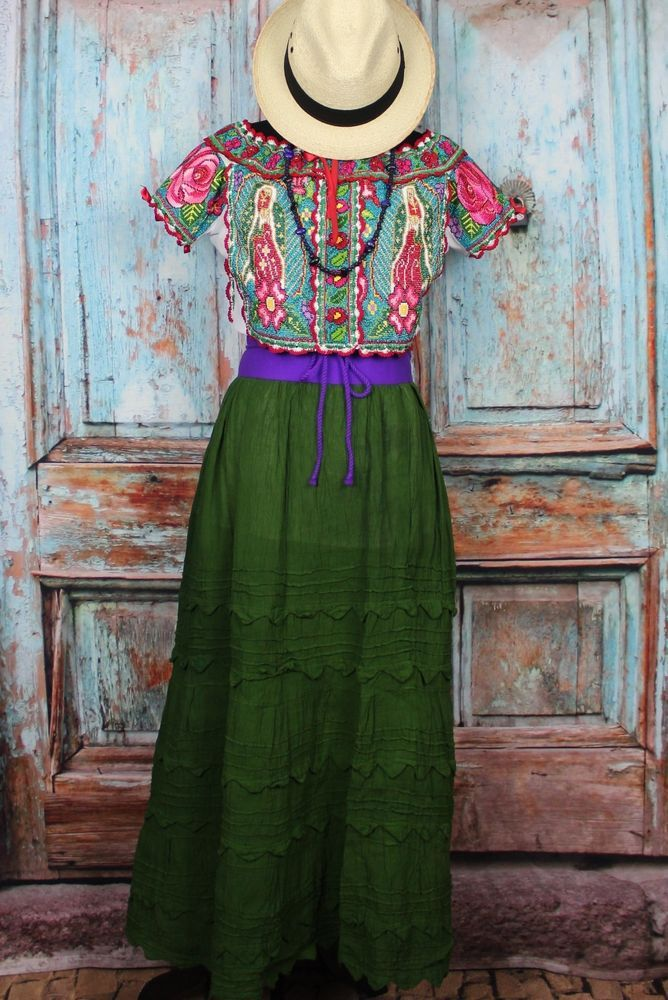 This is a Collector Quality Blouse from the town of Juquila Oaxaca Mexico. This lovely Blouse was a joint effort by the Lopez Quintas sisters of Santiago Yaitepec in Oaxaca. The images on this blouse are of the Virgin of Guadalupe / Our Lady of Guadalupe, the Patron Saint of Mexico. | eBay!