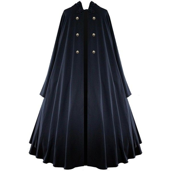 Victorian Vagabond Hooded Steampunk Gothic Medieval Cape Cloak Black ($82) ❤ liked on Polyvore featuring costumes, goth halloween costumes, gothic lolita costume, steam punk costume, victorian costumes and gothic costumes