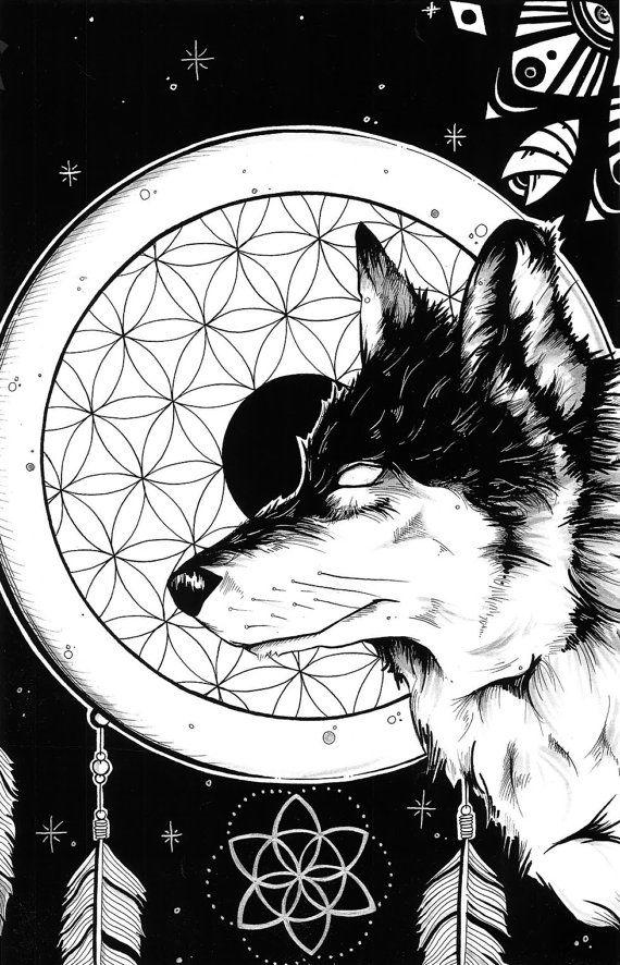 native american wolf spirit sacred geometry dreamcatcher
