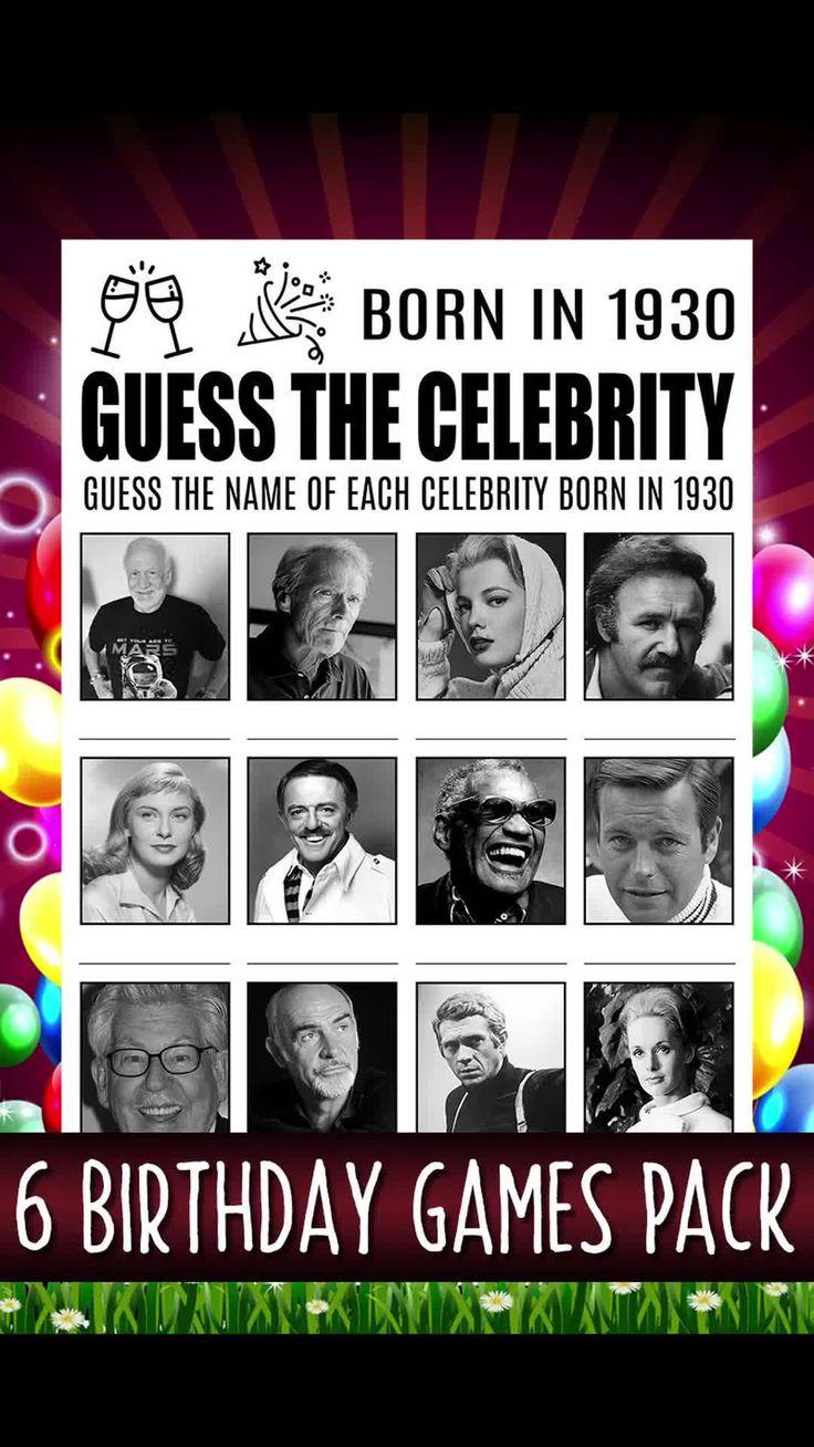 90th Birthday Games, Born In 1930, Birthday Trivia, 90