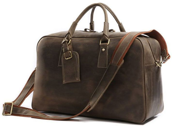 Mens Overnight Bag Leather Travel Holdall