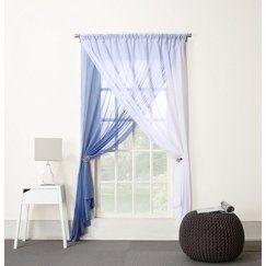 """Lola 2-Layer Reversible Sheer Curtain Panel - White/Lapis (58x84"""")"""