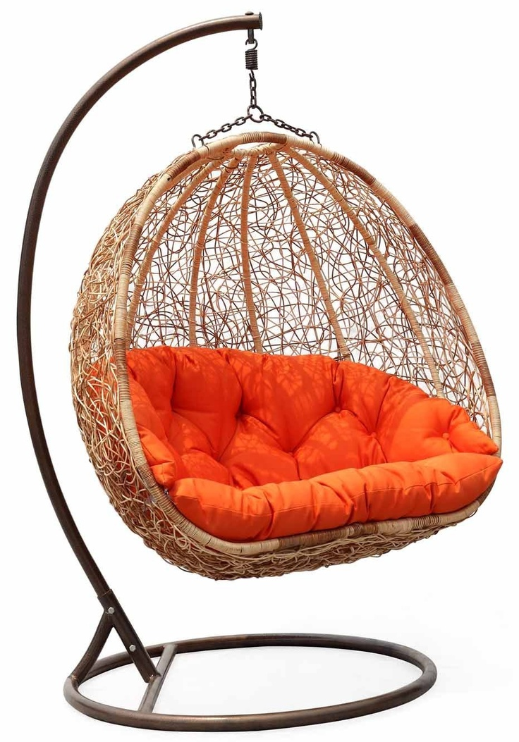 Wicker Swing Chair With Orange Cushion Pretty Things For