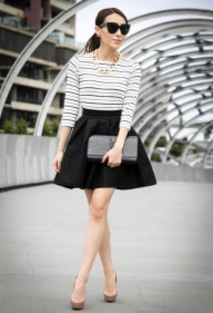 Love it. Full- Higher Waist Skater Skirt and Form Fitting Top.