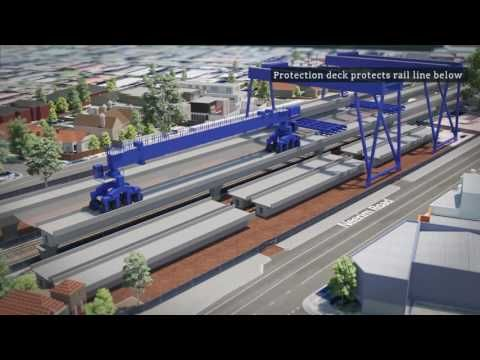 Caulfield to Dandenong: construction at Murrumbeena - YouTube