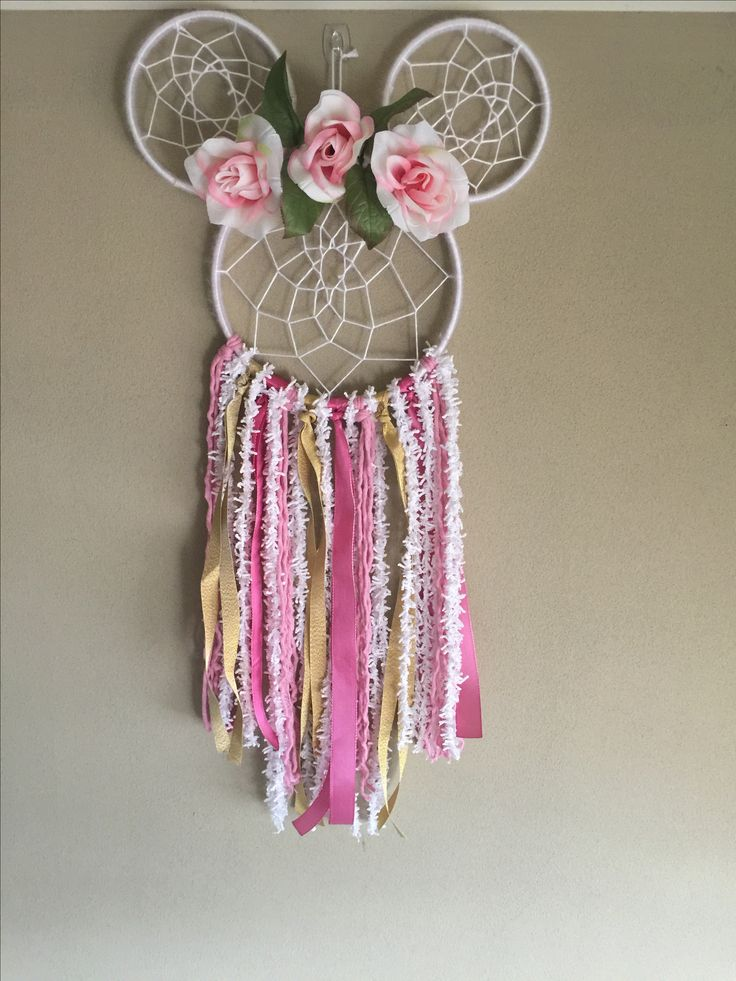 Blush Floral Minnie Mouse Dreamcatcher. Unique handmade item. Made with ribbons, florals, trims, yarns, and wood. Large size Dreamcatcher. Perfect for: Birthdays, nurseries, home decor, parties, and gifts!