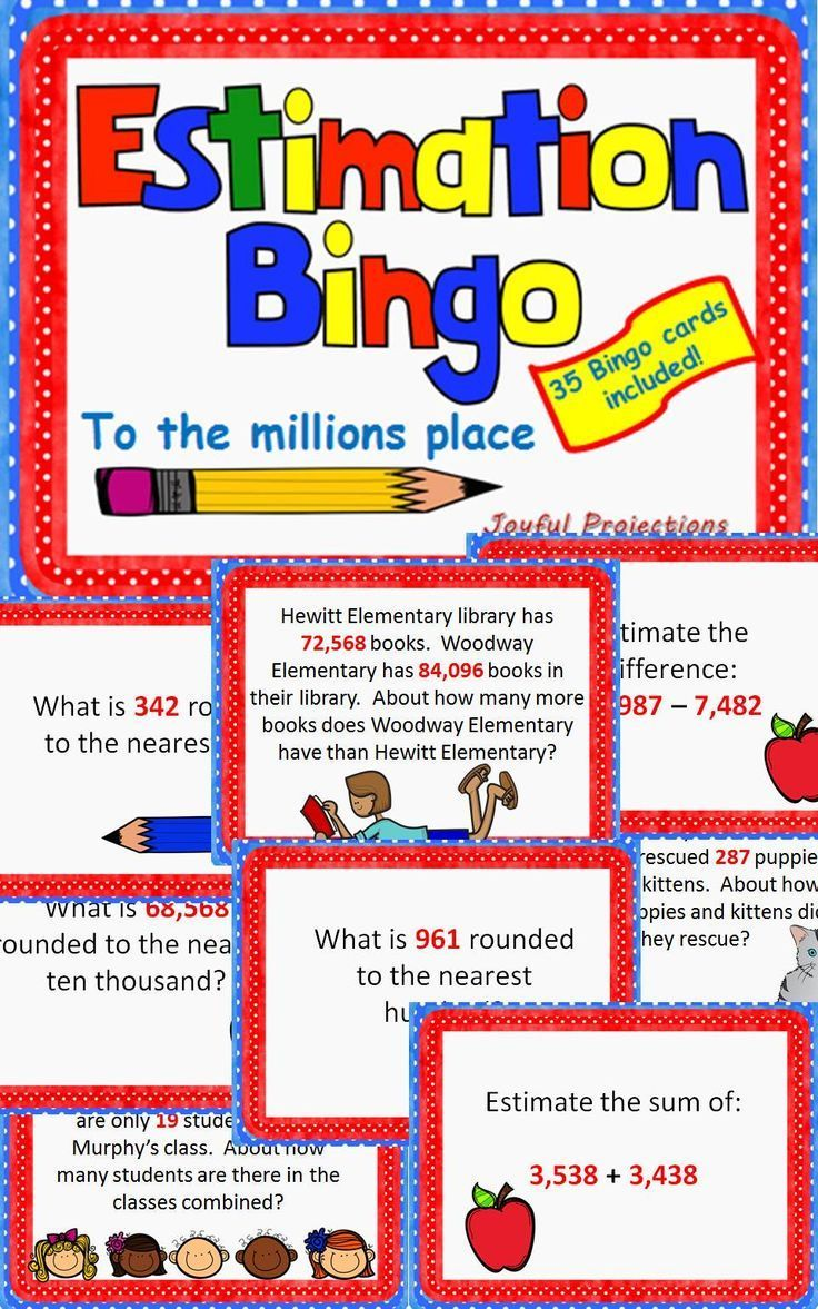 Estimate Estimation Bingo Classroom Activity W 35