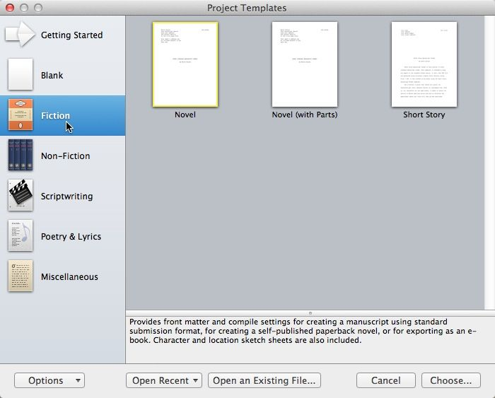 Writing a novel with scrivener templates