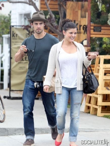 Milo Ventimiglia and his girlfriend Isabella Brewster seen out for the lunch with friends at Kreation Kafe in Los Angeles. August 26, 2013.