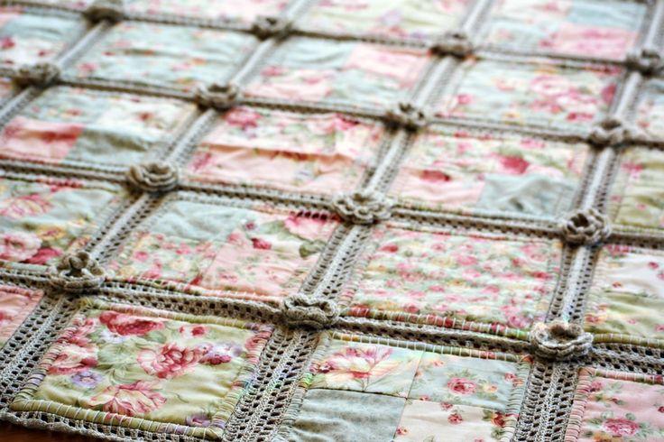 Crochet and fabric Quilt  https://thegreendragonfly.wordpress.com/2015/07/22/crochet-and-fabric-quilt/