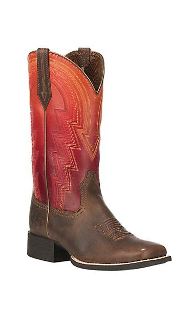 Ariat Women's Round Up Waylon Tan with Ombre Sunrise Upper Square Toe Western Boots | Cavender's
