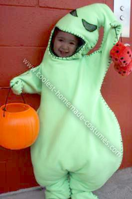 Homemade Toddler Oogie Boogie Halloween Costume: This is a favorite Halloween movie for most of us, and it was for my 3 year old.  She is obsessed with the color green, and so, was obsessed with Oogie