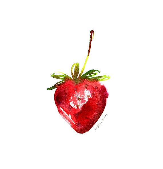 Strawberry watercolor painting Kitchen Art Fruit Art by colorZen