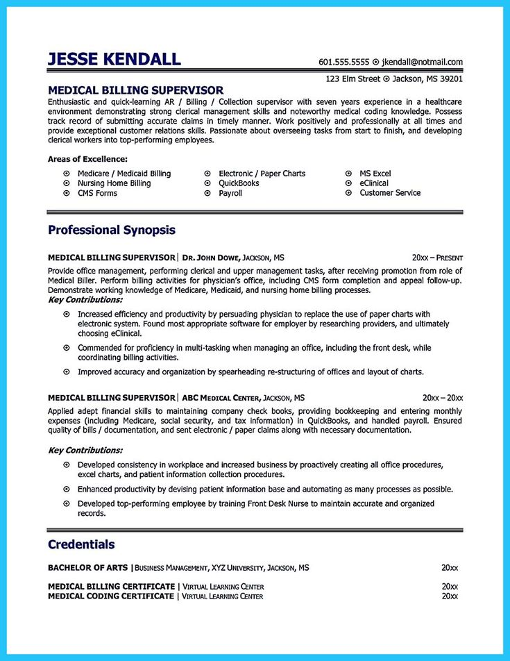 12 best Resume images on Pinterest Sample resume, Medical - sample resume for medical billing specialist