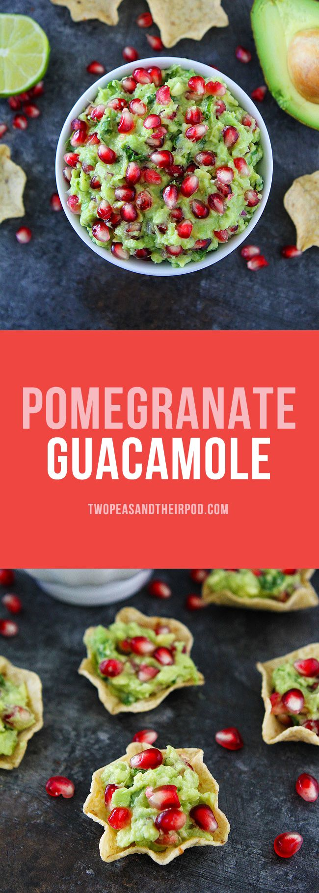 Pomegranate Guacamole is an easy holiday appetizer! Everyone will love this festive Christmas guacamole and it's SO easy to make! #christmas #holidays #guacamole #GlutenFree
