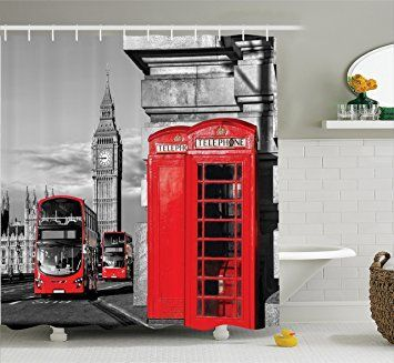 London Decor Shower Curtain Set By Ambesonne, London Telephone Booth in The Street Traditional Local Cultural Icon England Uk Retro Print, Bathroom Accessories, 69W X 70L Inches, Red Grey