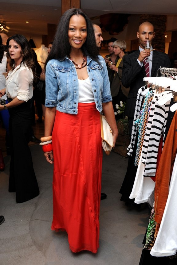 garcelle beauvais - coral maxi skirt, cropped denim jacket