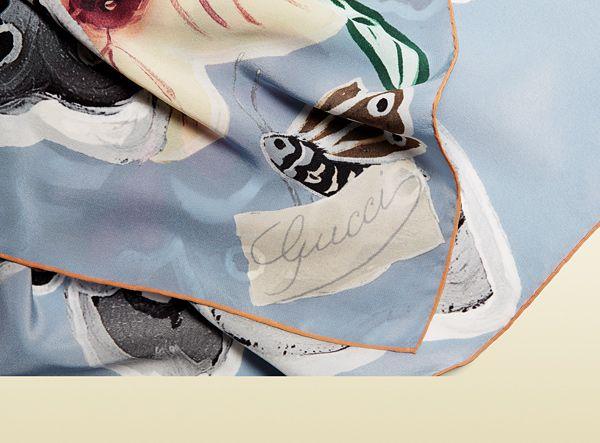 Gucci - kris knight butterfly print silk carré 3714423G0054900