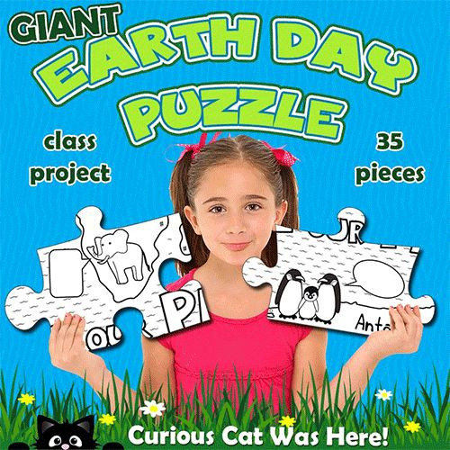 Giant Earth Day puzzle! 35 pieces - one piece to a page. Fun activity for the whole class to take part in on Earth Day. Finished puzzle shows a map of the world. Animals on the puzzle pieces each give a tip on how to help look after our planet. Second version has blank speech bubbles for students to write in their own text.