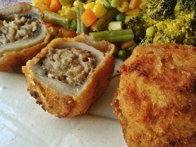 Csirkemájjal-gombával, krémsajttal töltött gombafejek recept