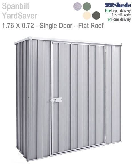 The Slimline range is perfect for those small areas where you need the extra storage. The F52 in size: 1.76m x 0.72m with a Single Door. See GardenShed.com