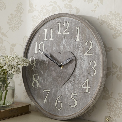 Lime Wash Centre Heart Wall Clock