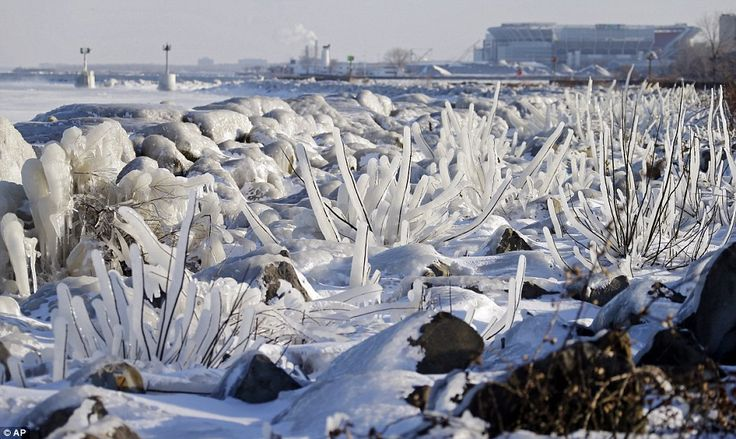 Ice covers rocks and brush on the break wall at Edgewater Park in Cleveland, Ohio as half the U.S. was battered by winter storm Ion. Coldest day at -62F temperature.
