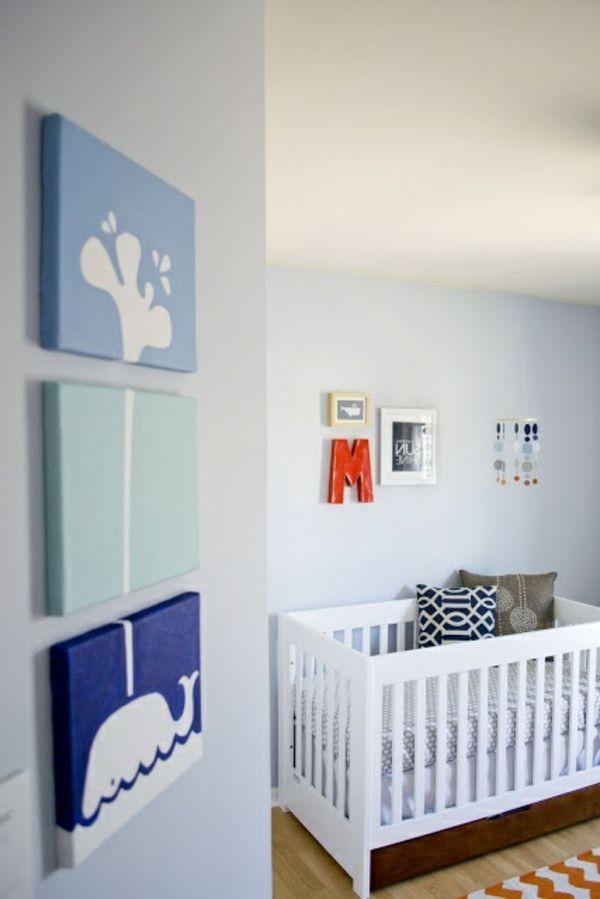 chambre-bébé-garçon bleu blanc