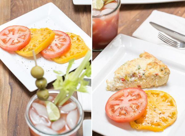 Frittata with heirloom tomatoes