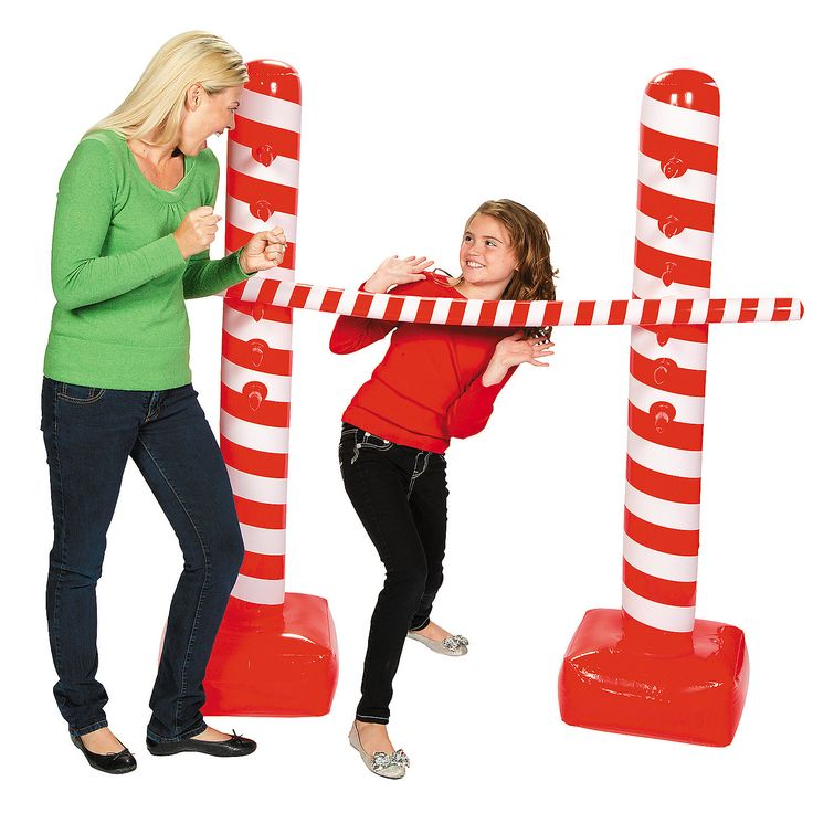 Inflatable Candy Cane Limbo Kit - OrientalTrading.com.  I bought this for one kids' school holiday party this year and will use it at the Valentine's party for the other kid.  It was a HUGE hit!!